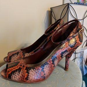 Diba Snakeskin Strappy Open Toe Heel Size 8